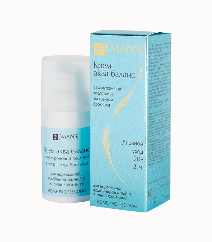 аква баланс, для жирной кожи, для комбинированной кожи, для нормальной кожи, с экстрактом брокколи, с гиалуроновой кислотой